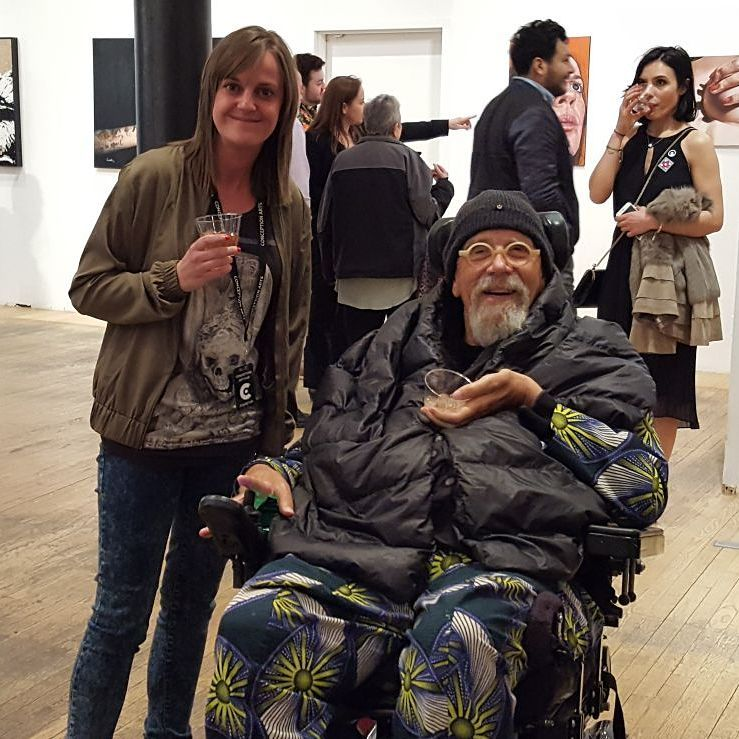 Artist Emma Worth with Chuck Close