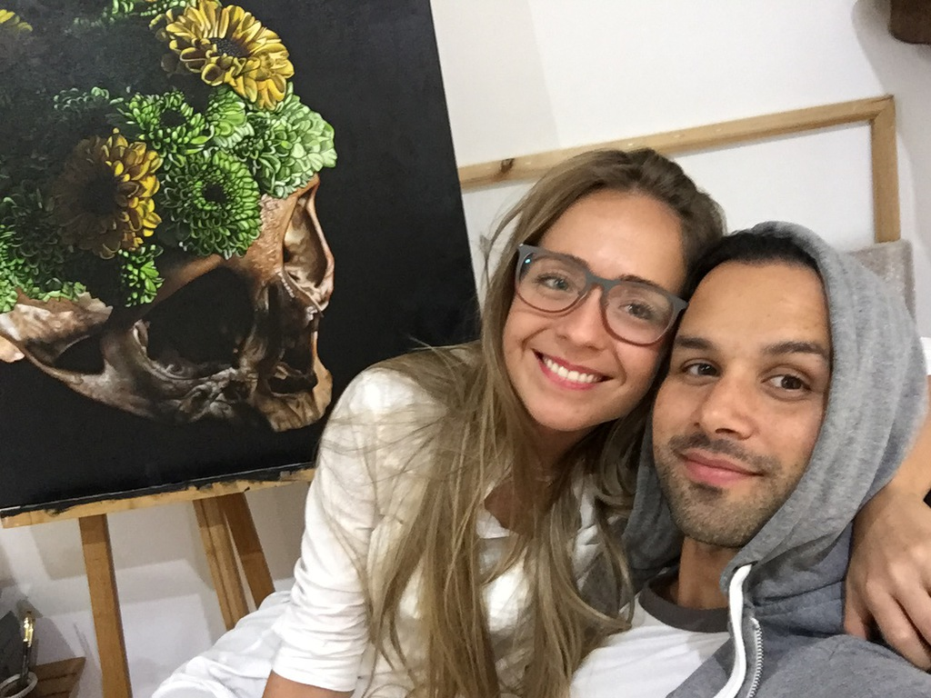 The artist pictured in his studio in Guatemala with his wife, Mariana