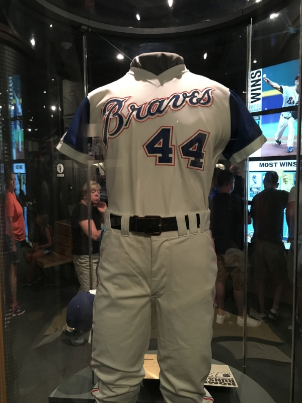The uniform Hank Aaron wore when he broke Babe Ruth's all time home run record.