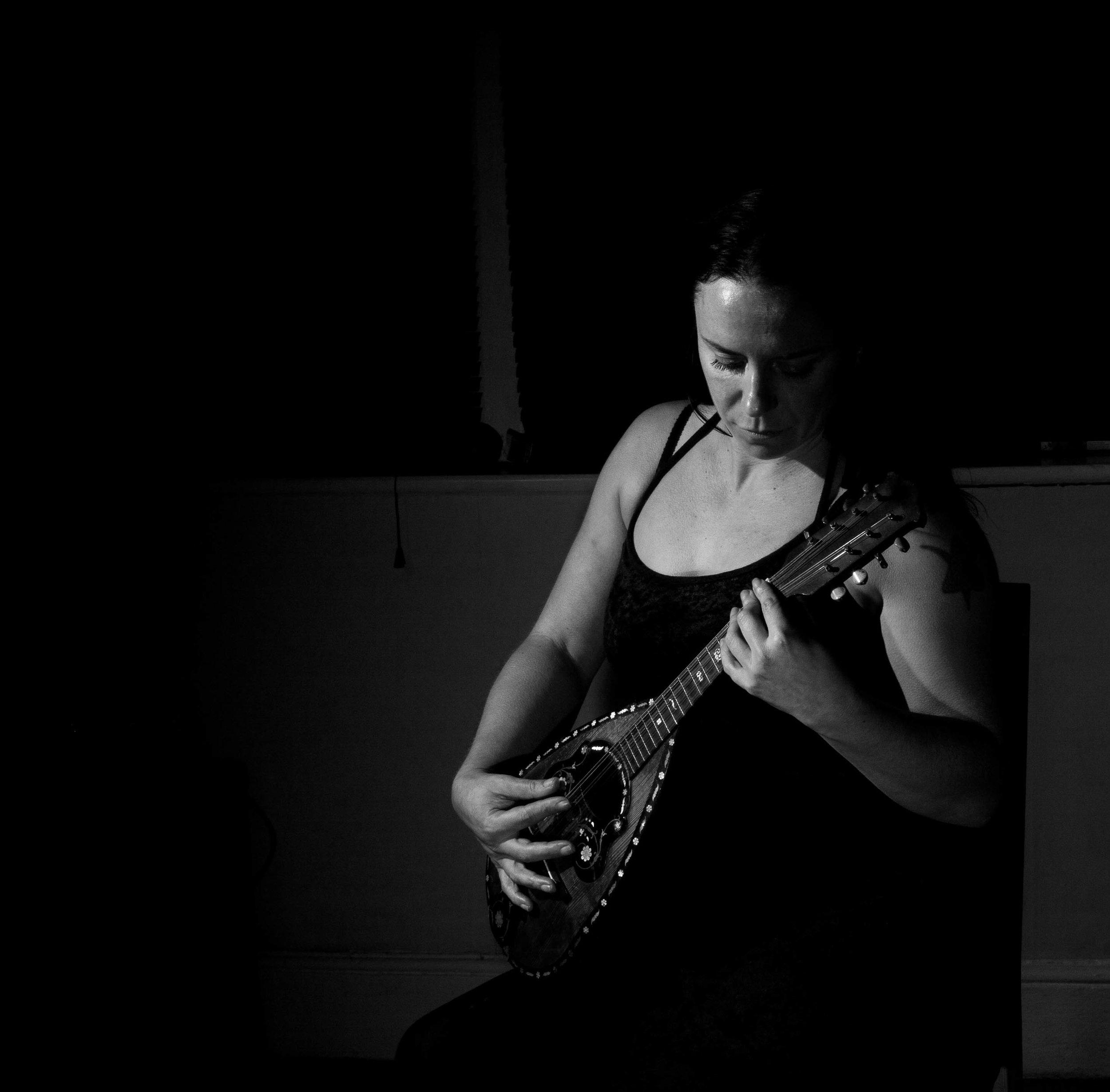 Mel with mandolin.