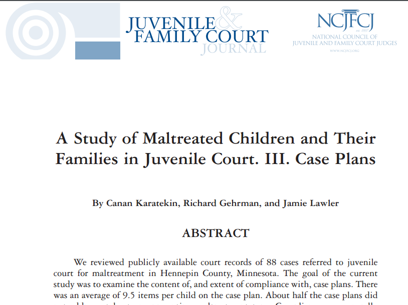 - We reviewed publicly available court records of 88 cases referred to juvenile court for maltreatment in Hennepin County, Minnesota. The goal of the current study was to examine the content of, and extent of compliance with, case plans. There was an average of 9.5 items per child on the case plan. About half the case plans did not address at least one presenting maltreatment type. Compliance was generally high for items ordered for the children, and for cases that ended in family preservation. However, information on compliance was not included in the court records for many of the items.