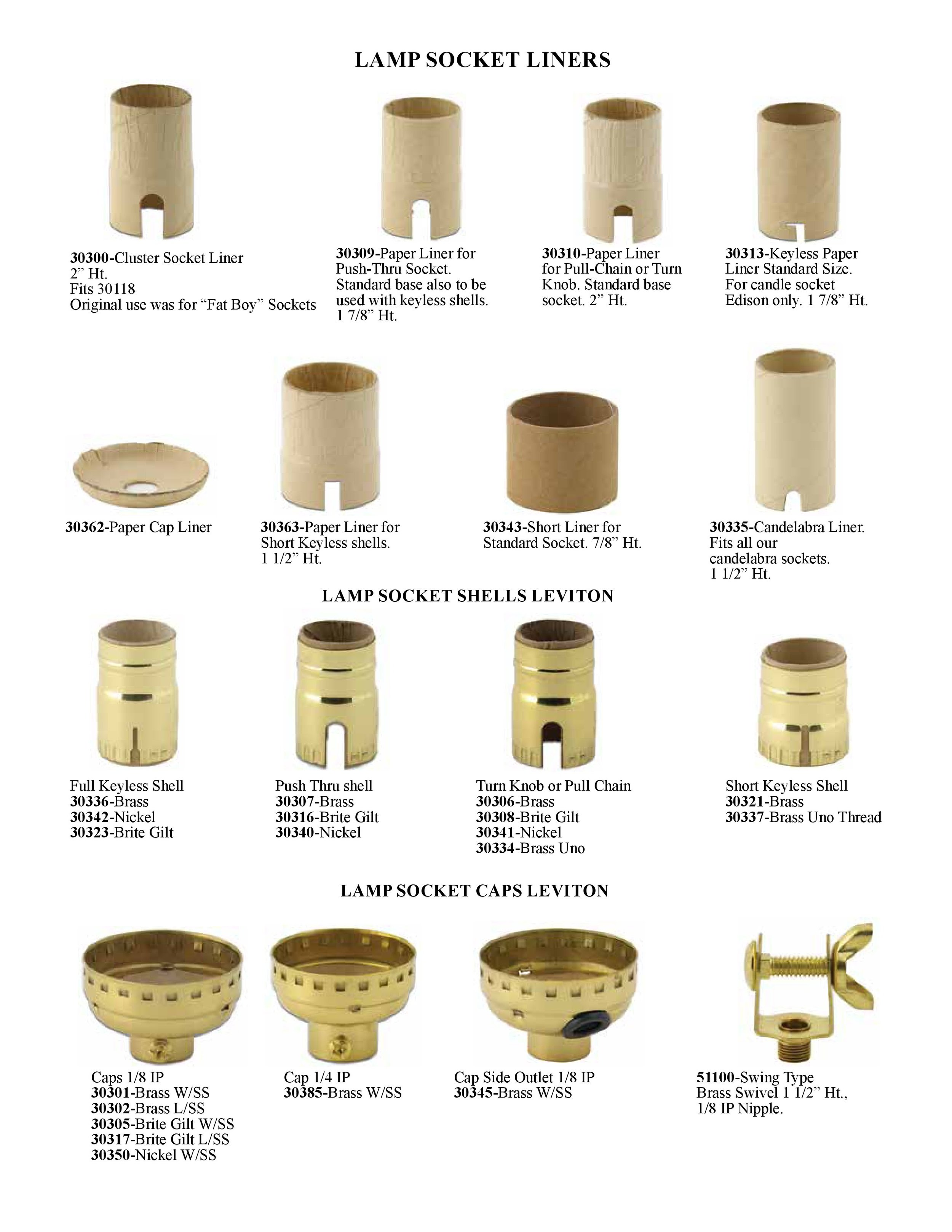 Parts Keyless Candle Socket Paper Liner
