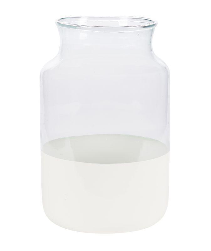 White Color Block Mason Jars (3)