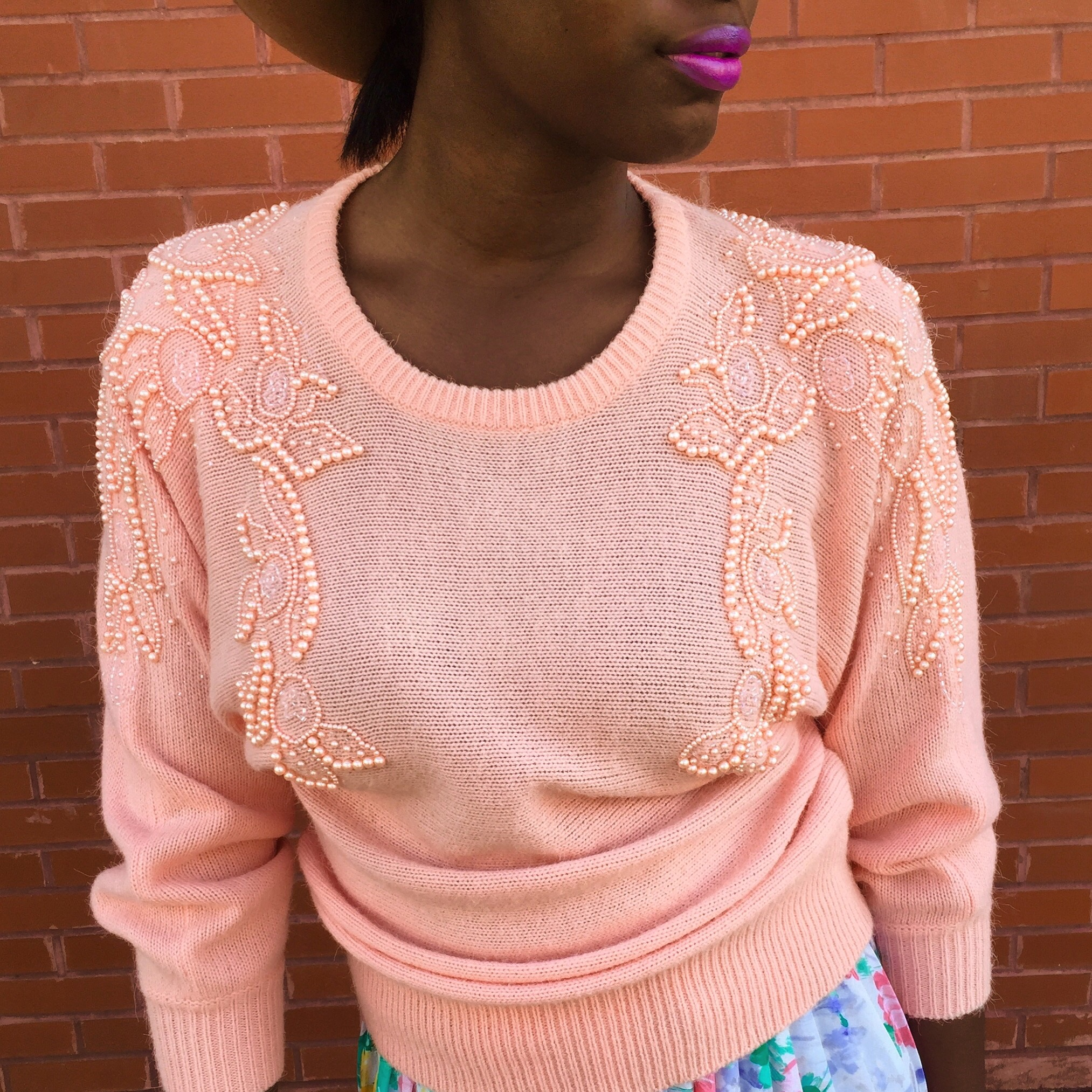 Pearled Pink Sweater, $40, PSB Vintage