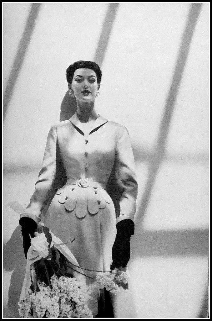 Pink shantung coat that could also be worn as a dress. Photo by Karen Radkai, Harper's Bazaar, July 1951