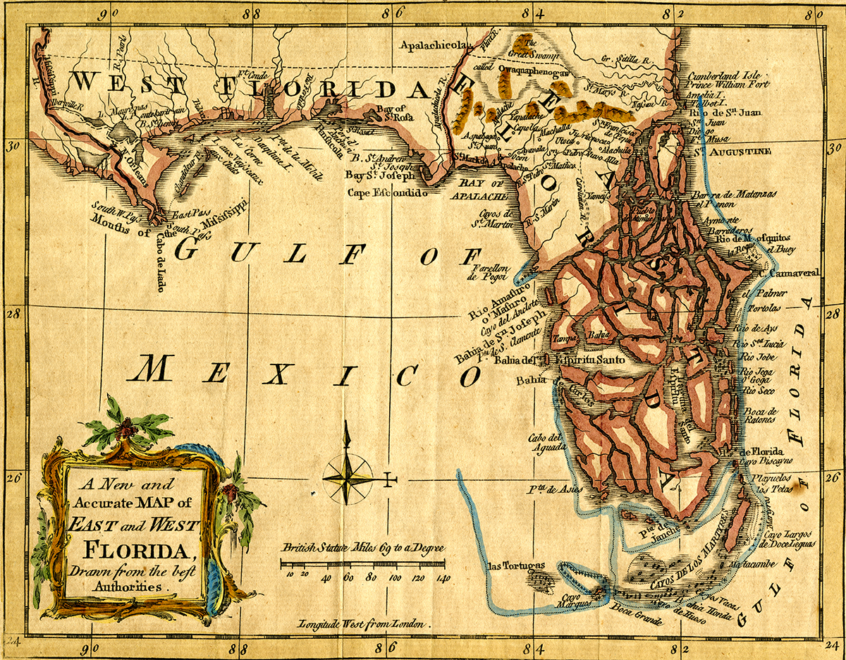 Britain formed East & West Florida after the Treaty of Paris to make it easier to govern. They were divided at the  Apalachicola River.