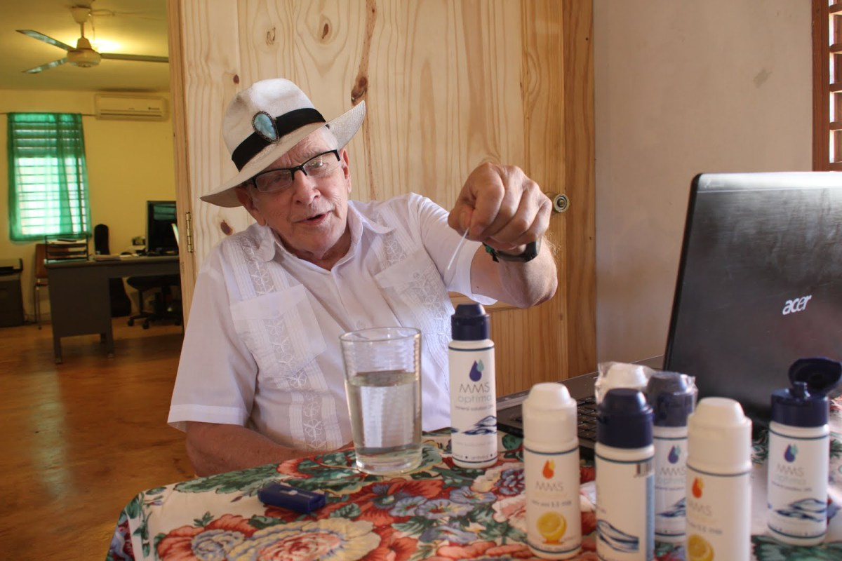 """Jim Humble, former Scientologist, pushing his deadly """"cure all"""" — Miracle Mineral Supplement."""