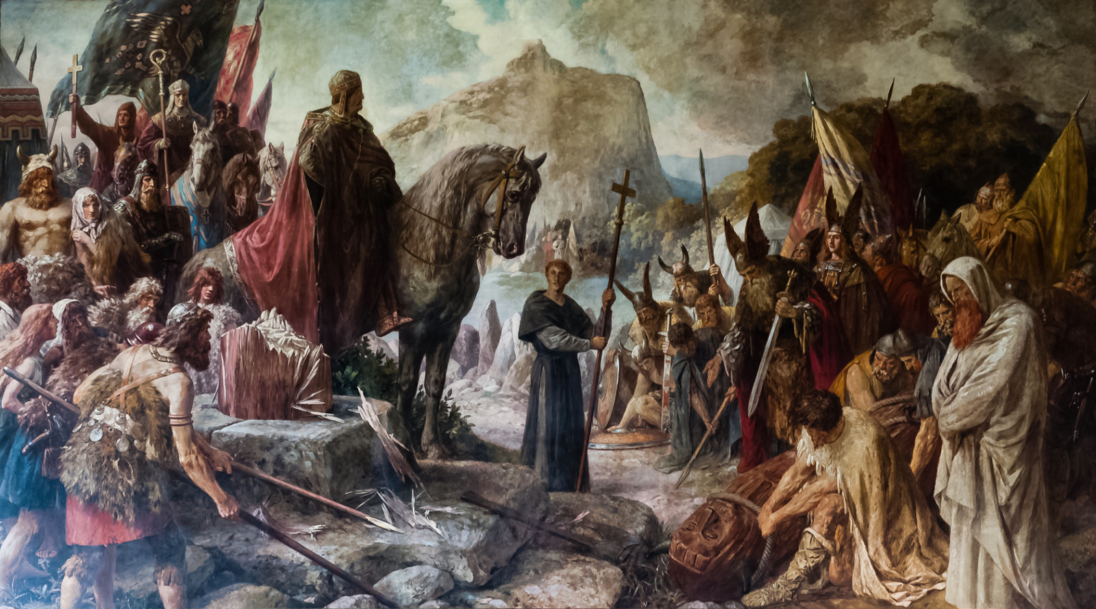 """ Charlemagne destroys the Irminsul"" by Hermann Wislicenus  (1885)"