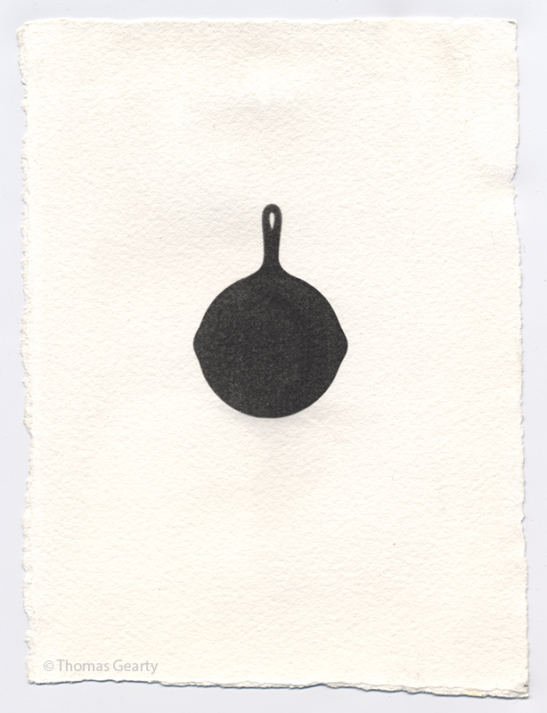 Cast-iron frying pan, from the series Iconotypes   Unique liquid-emulsion print on watercolor paper