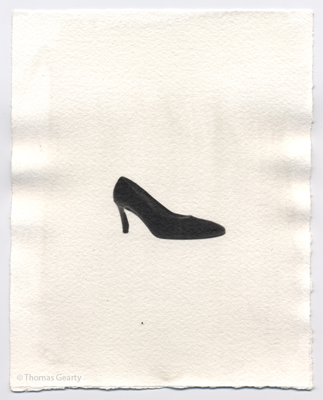 High-heel shoe, from the series Iconotypes   Unique liquid-emulsion print on watercolor paper