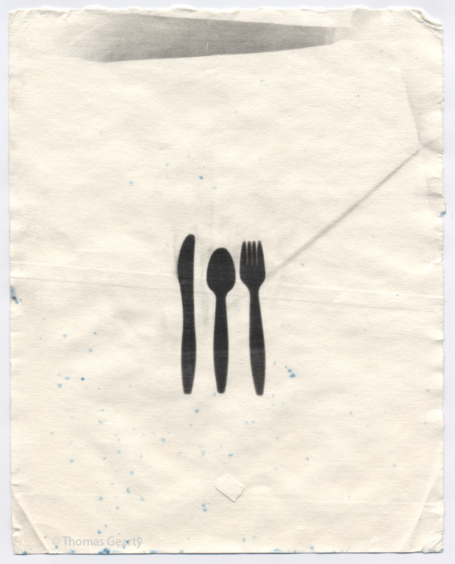 Fork, Knife, Spoon, from the series Iconotypes   Unique liquid-emulsion print on watercolor paper