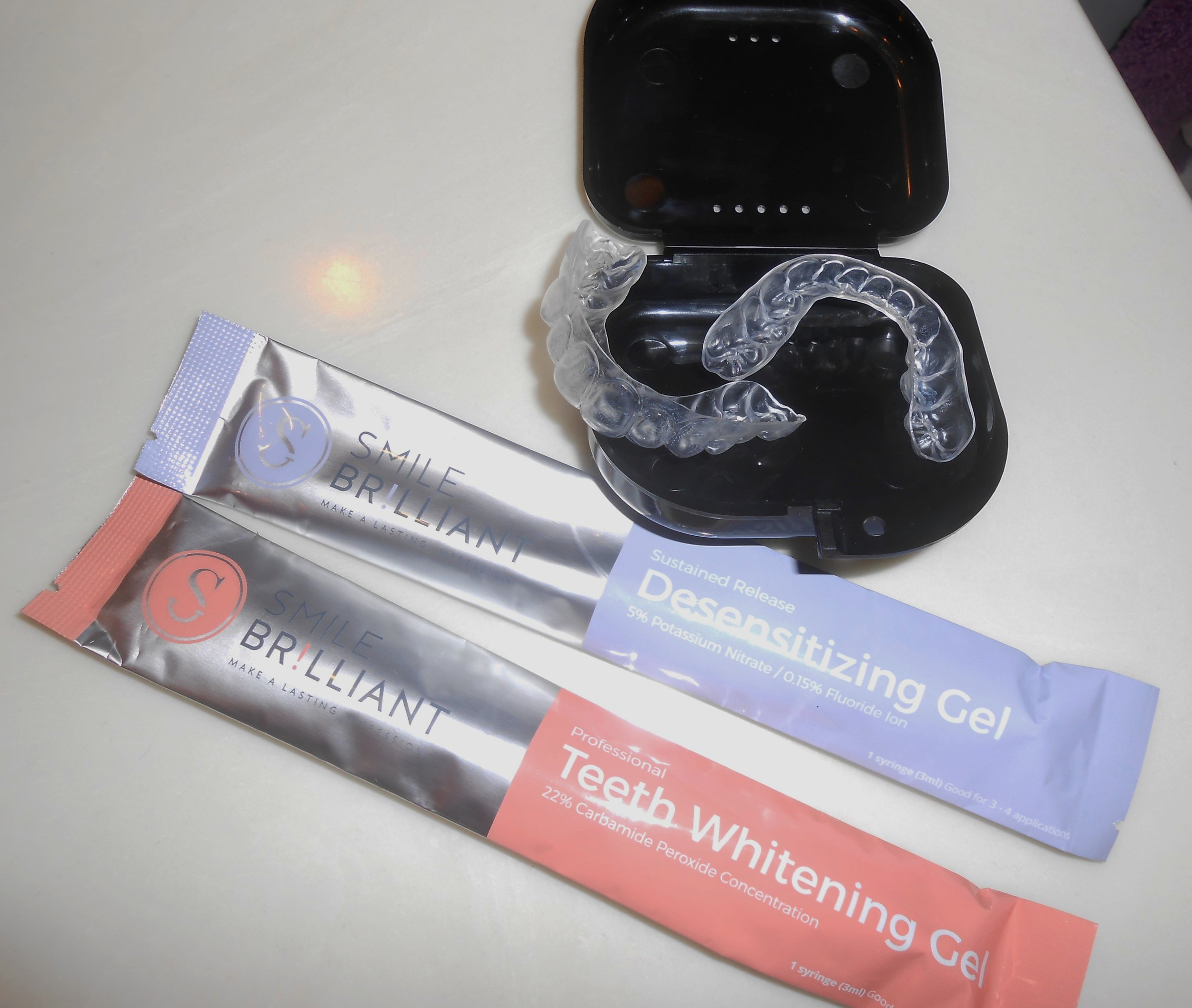 After you receive your whitening trays you are ready to start with the whitening process. There are 2 different gels in the kit... You use the  Teeth Whitening Gel  first (I whitened for 1 hour 30 mins usually)and then the  Desensitizing   Gel  (20 mins). I Whitened my teeth 2-3 times a week, which worked best for me.Depending on how sensitive your teeth are... It's up to you to choose how many times you want to whiten.You don't have to whiten every day. They suggest that you whiten before bed, because you will get the best results. Which is exactly what I did.