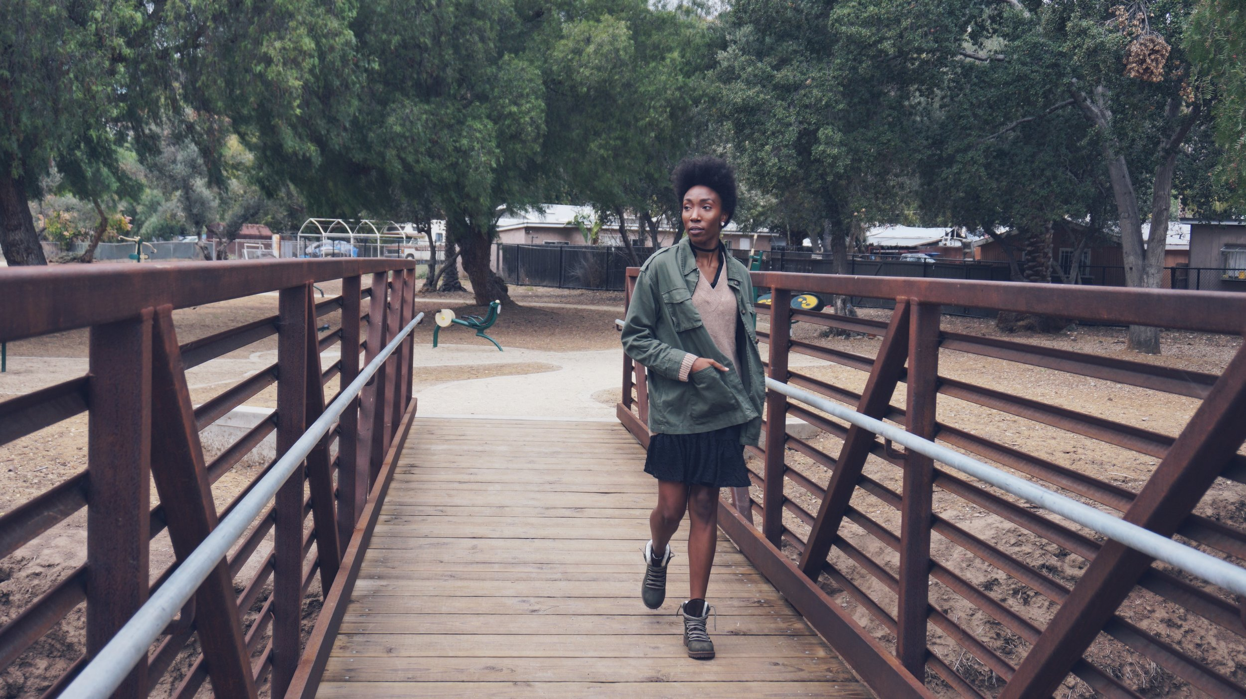 Look #2  Army style Jacket and Sweater:  H&M   Boots:  Target