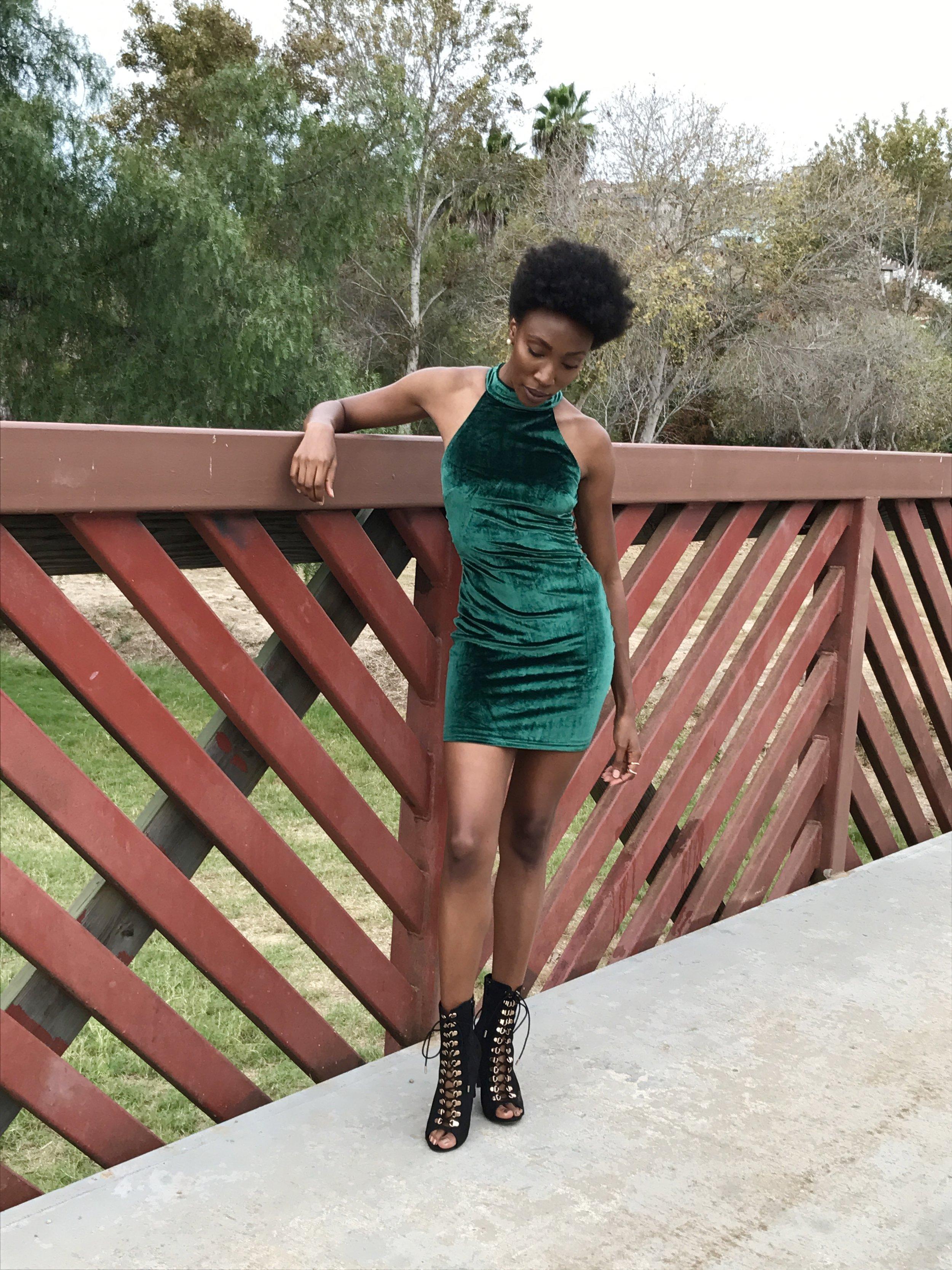 Body Con Dress:  A'GACI   Shoes: A'GACI