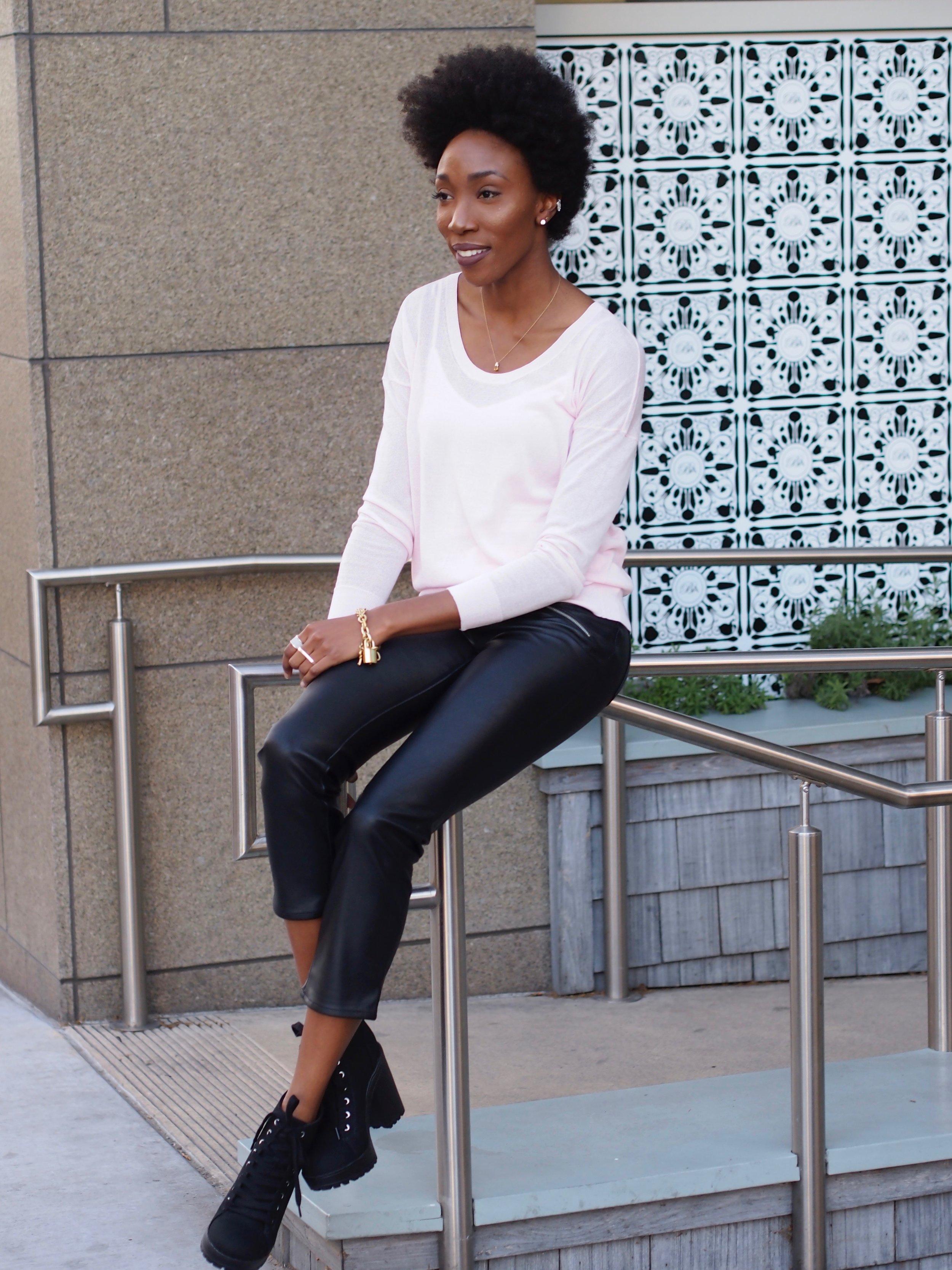 Faux Leather  Pants: H&M  Booties:  H&M   Sweater:  Cabi   Tank:  Cabi   Bracelet:  Cabi