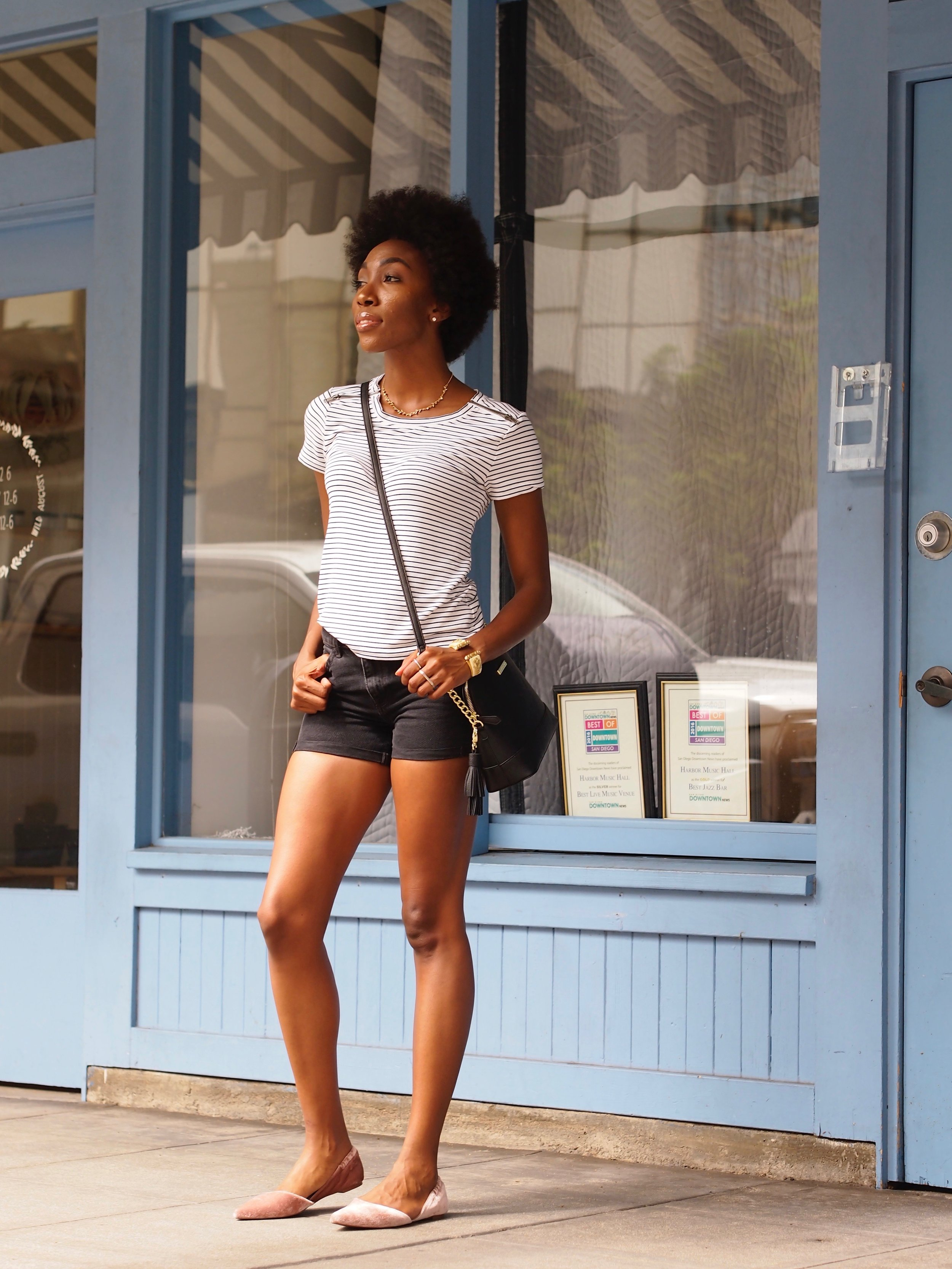 Outfit details:  Velvet Flats and Black shorts:  H&M   Tee:  Cabi