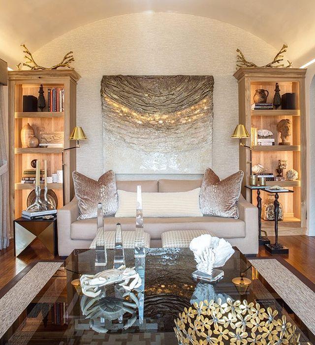 Symmetry. Design by hk+c. #hkplusc #gold #sarahraskey #livingroom #symmetry #santabarbara