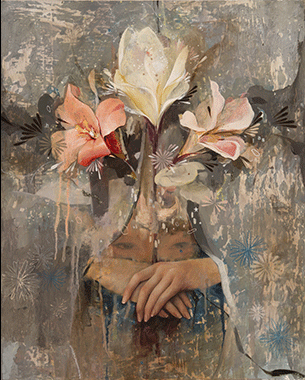 Flowers for the Asleep, oil and fool's gold,SOLD