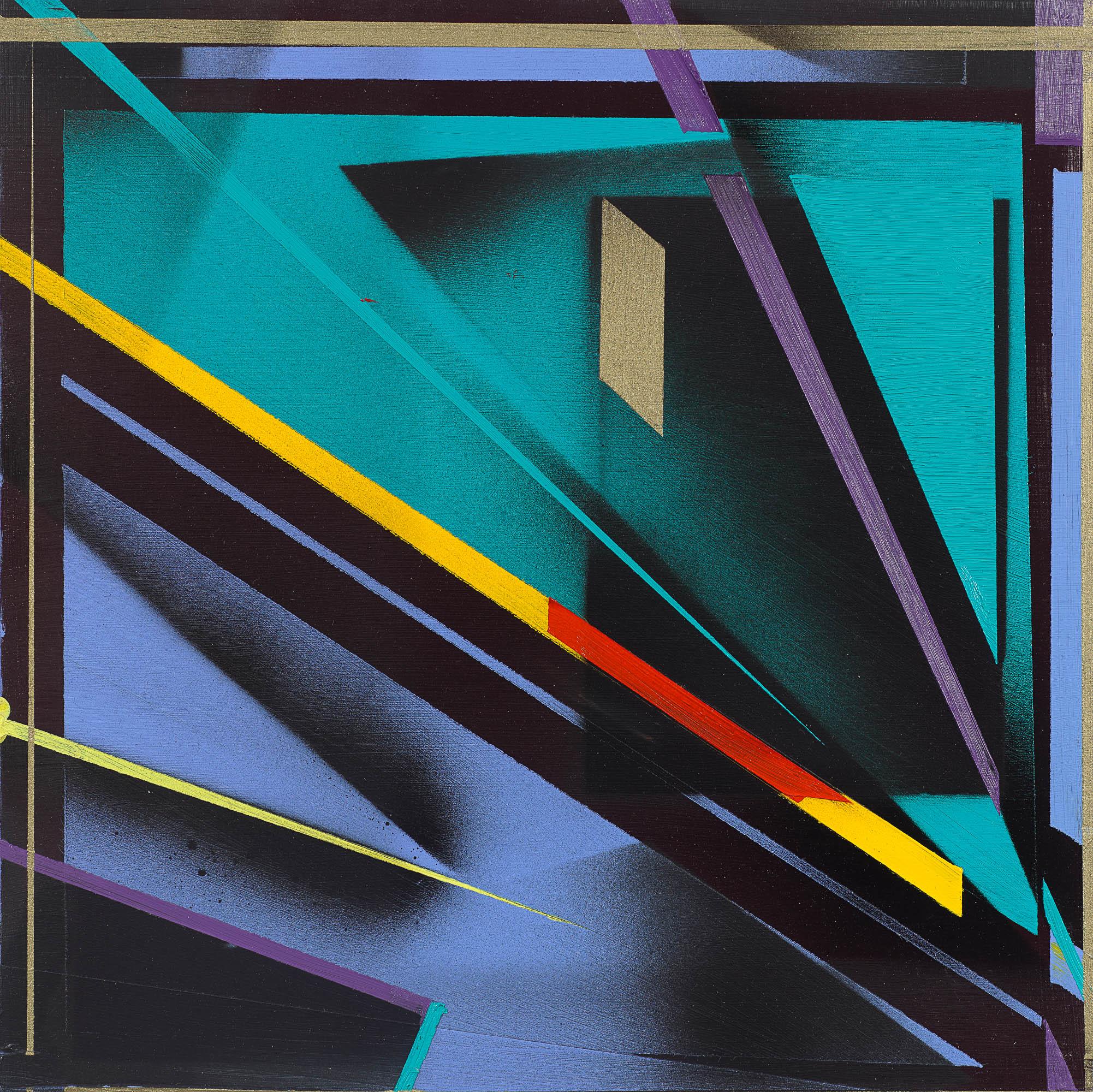 "Yellow Zip by Nola Zirin, 12x12"" mixed media, photo from OTA Contemporary"