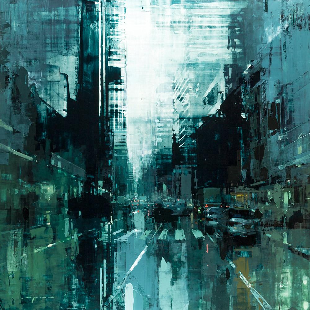 "NYC #23, Jeremy Mann, 48x48"" oil on panel at  EVOKE Contemporary"