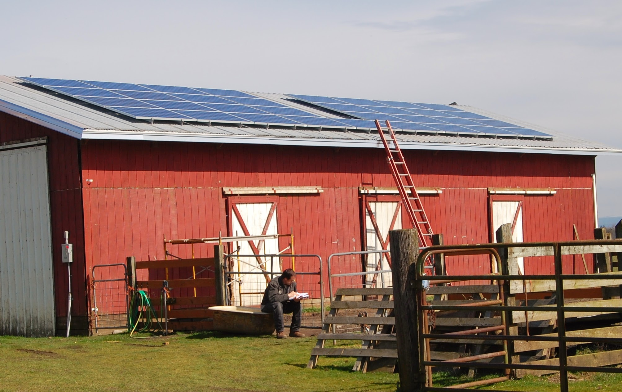 March, 2013.  PV panels completed on horse barn.
