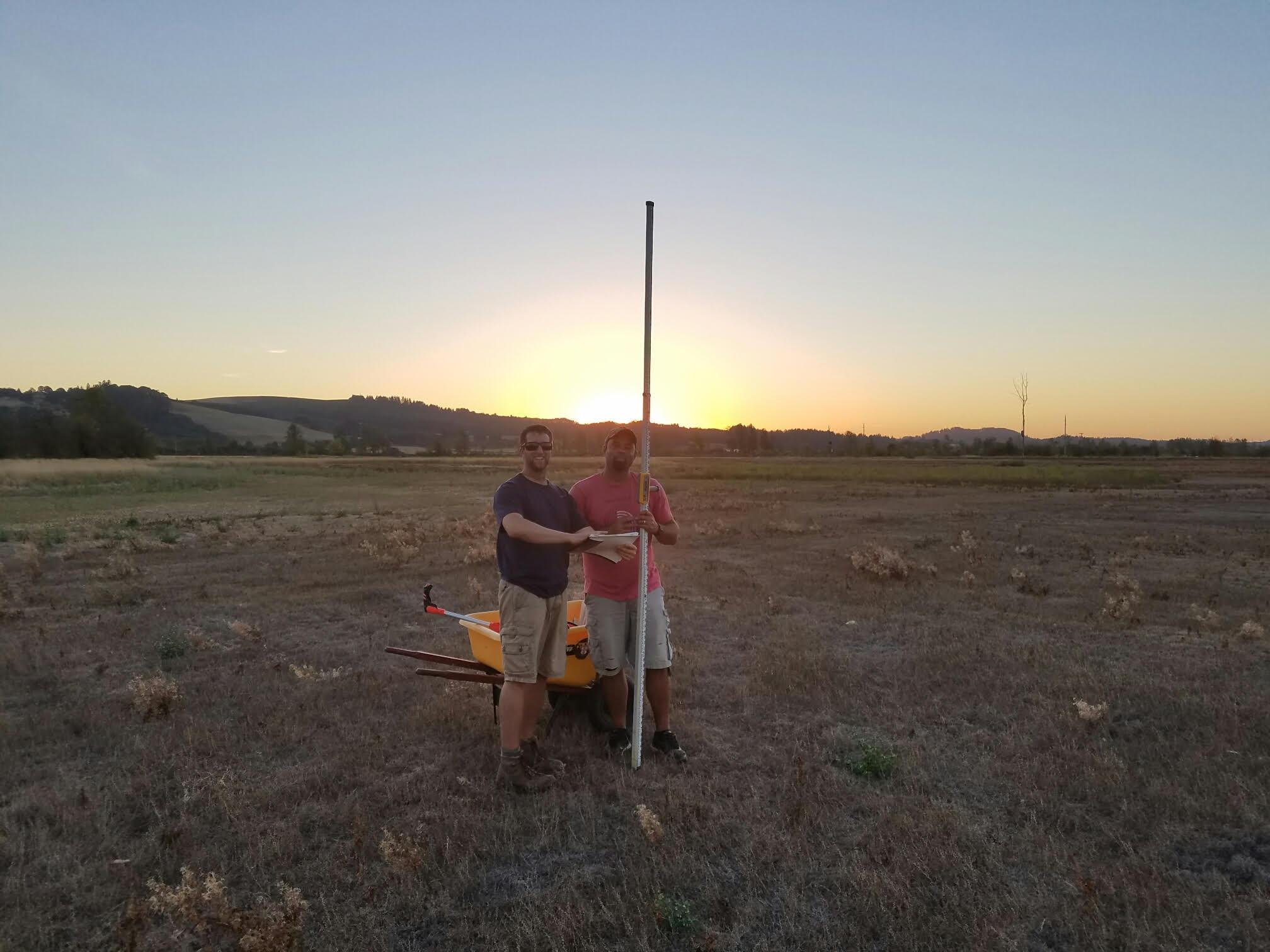 Surveying pond areas.