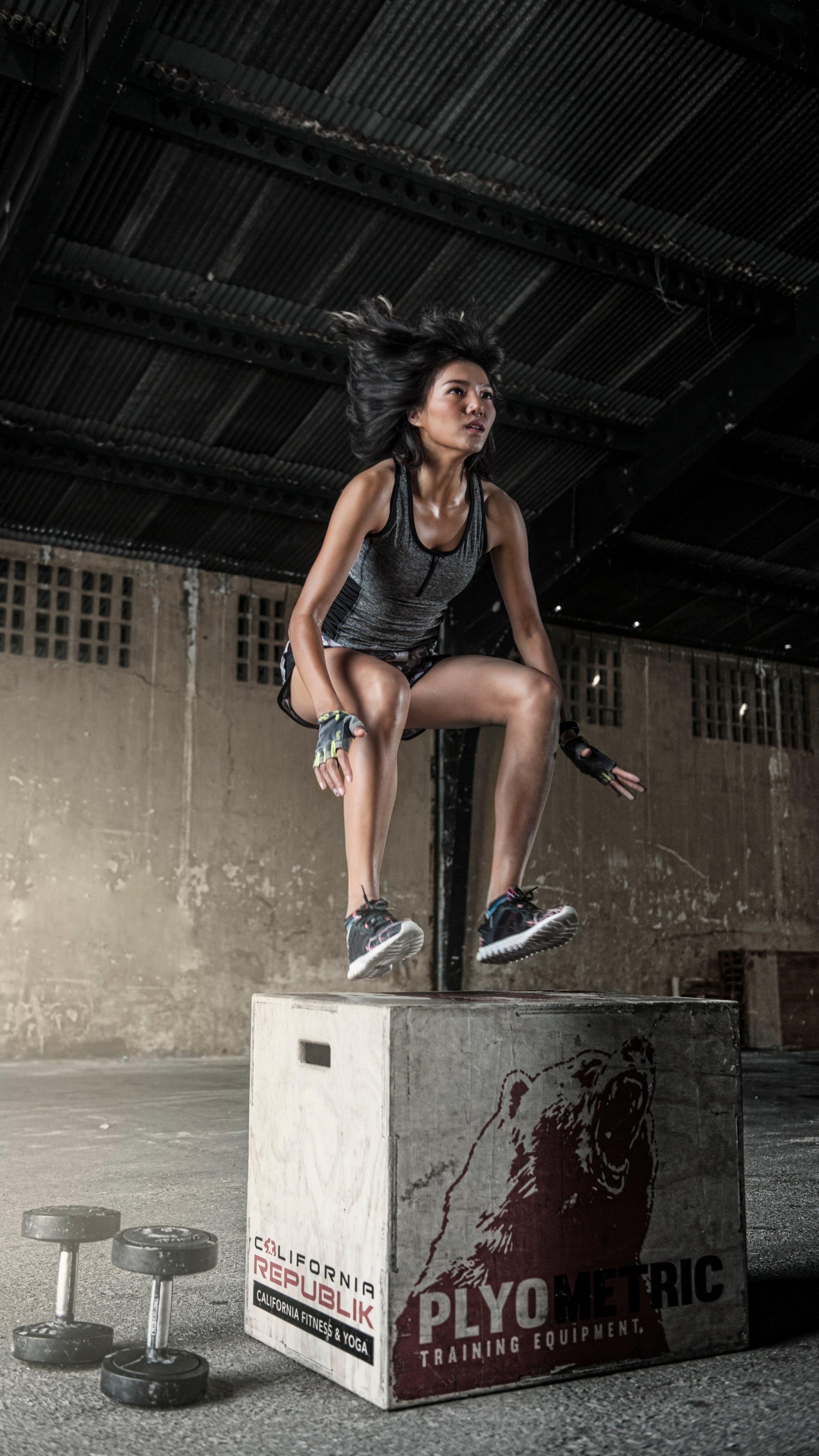 Girl Box Jumping