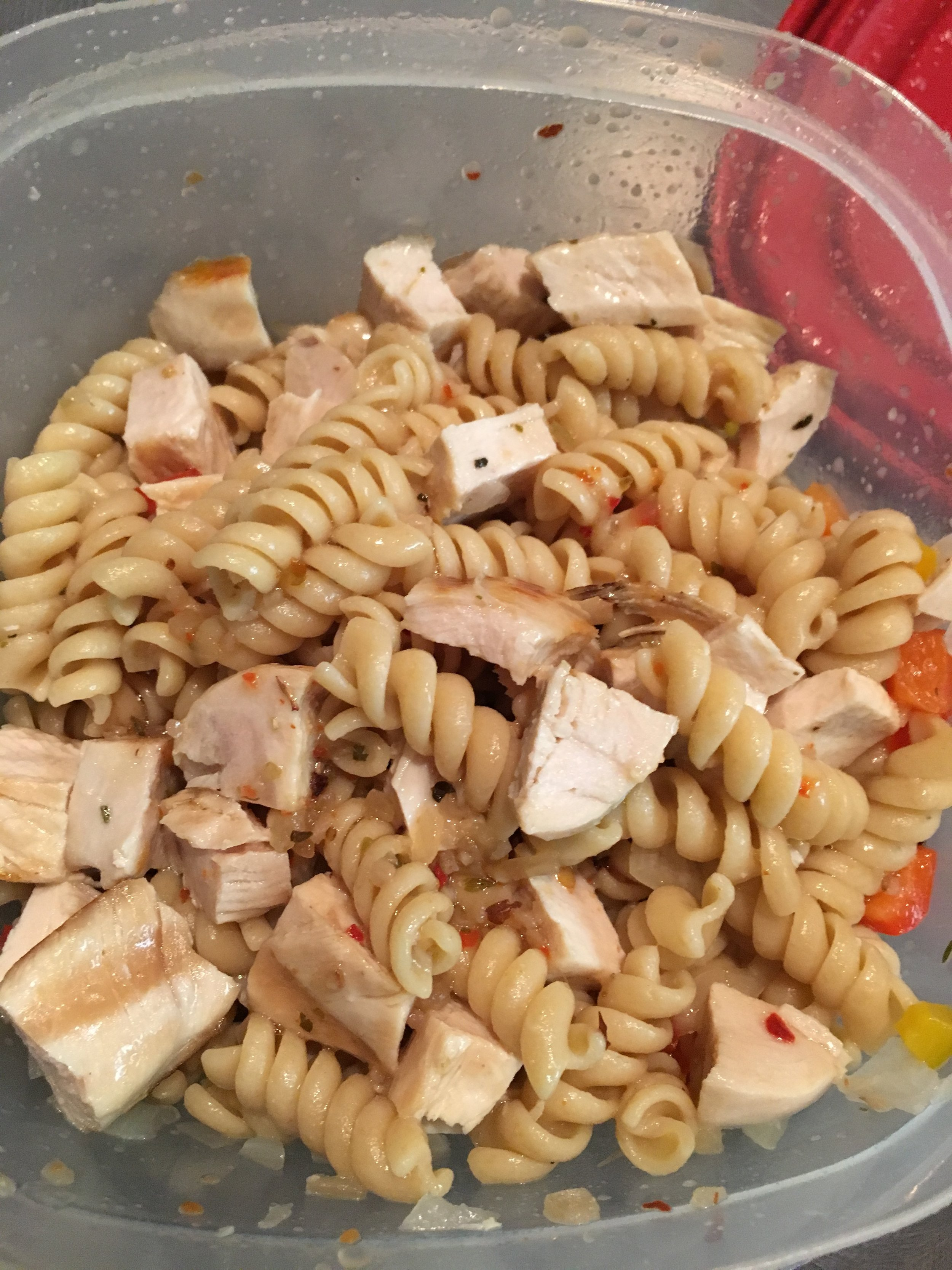 At the end of the week, I had leftover grilled chicken that was used to make a pasta salad.