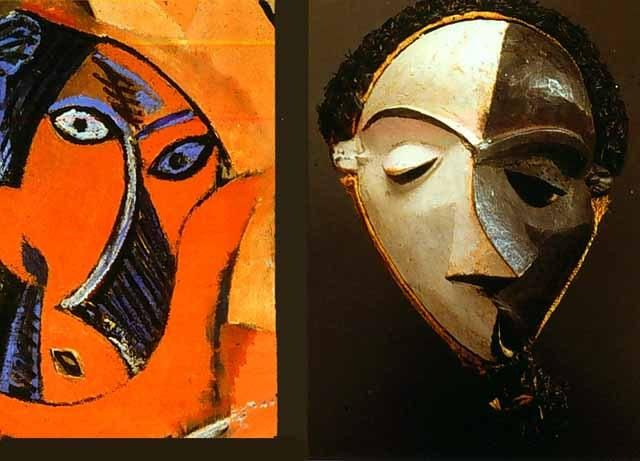 Detail of  Les Demoiselles d'Avignon  of and African mask from Trocadero Museum of Ethnology
