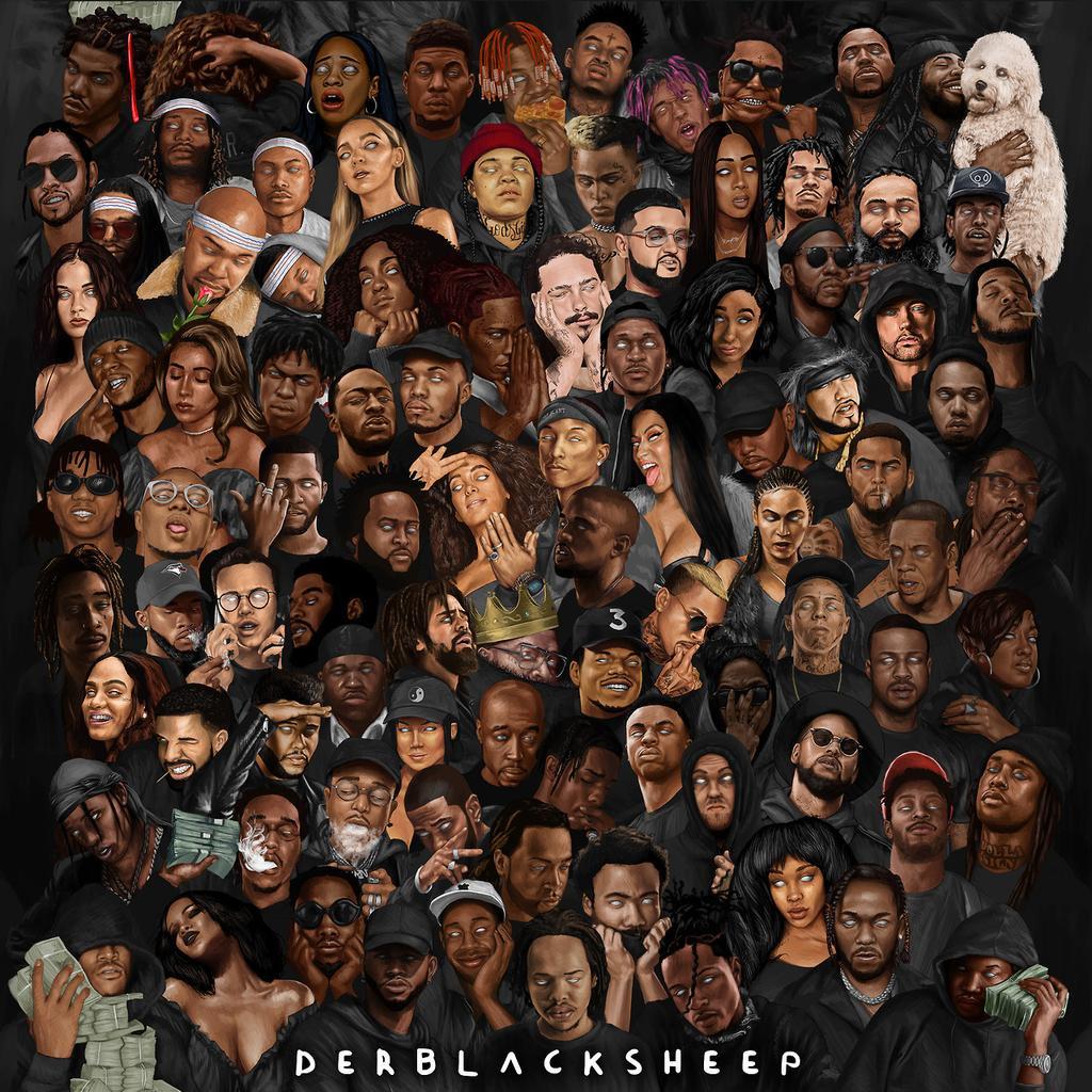 Collage of Various Hip-Hop Artists — Luke Lewin (A.K.A DerBlackSheep), 2017
