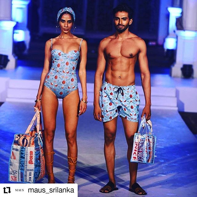 Check out the fabulous new collection of @maus_srilanka! We have been part of the show yesterday with some exclusively designed Rice&Carry bags which are now available @prstore Thanks again for having us🤗  #swimweekcolombo#colombofashionweek#upcycling#fairtade#madeinsrilanka