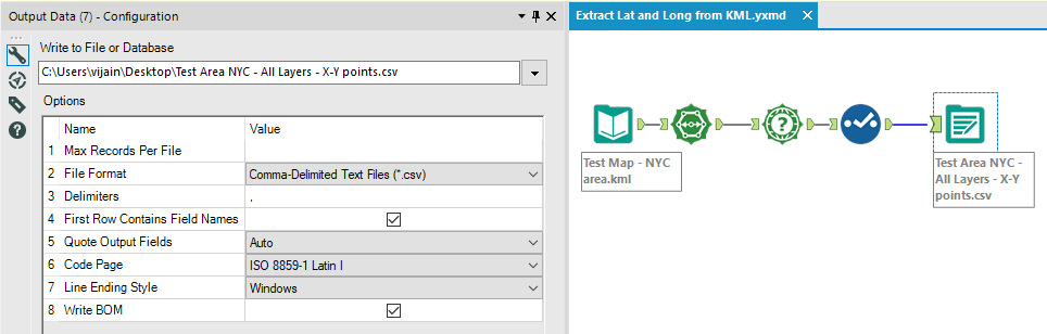 Extracting Latitude and Longitude from a KML file using