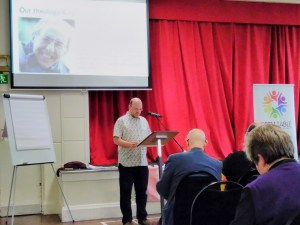 Warren Hartley presenting the theology and spirituality of Open Table at Coventry Central Hall, 21st October 2017