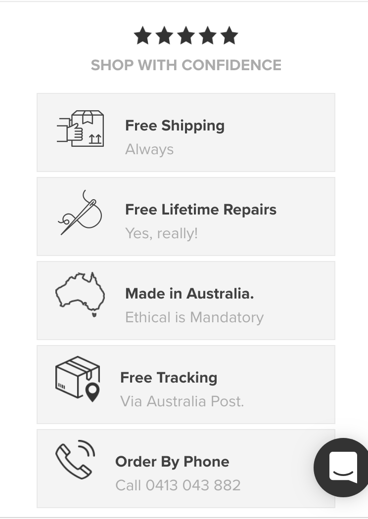 CRO confidence box on shopify cart page