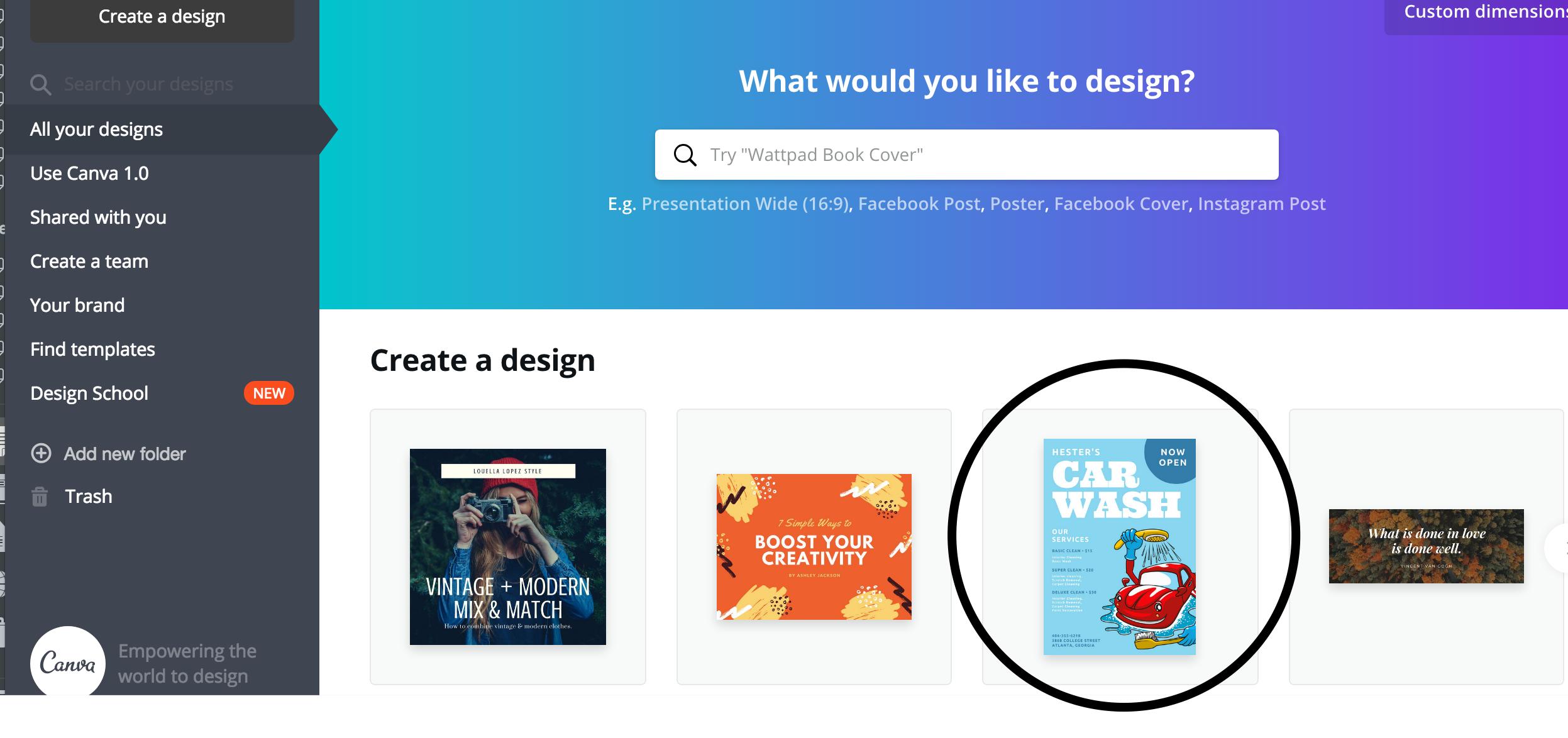 Select a design at Canva