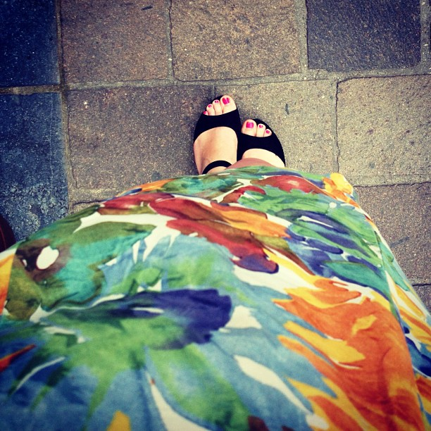Wearing flatforms + one of my favourite dresses: this one was worn by my mom when she was my age #nowthatsvintage (Taken with  Instagram )