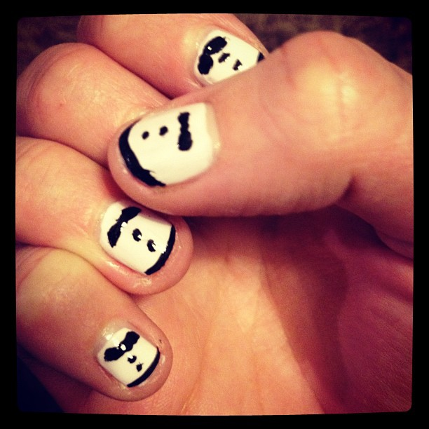 Imitated Deschanels tuxedo nails (Taken with  instagram )