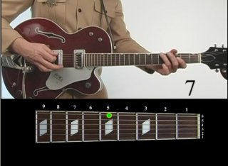 Features on-screen fret board with colored markers indicating exact finger placement.