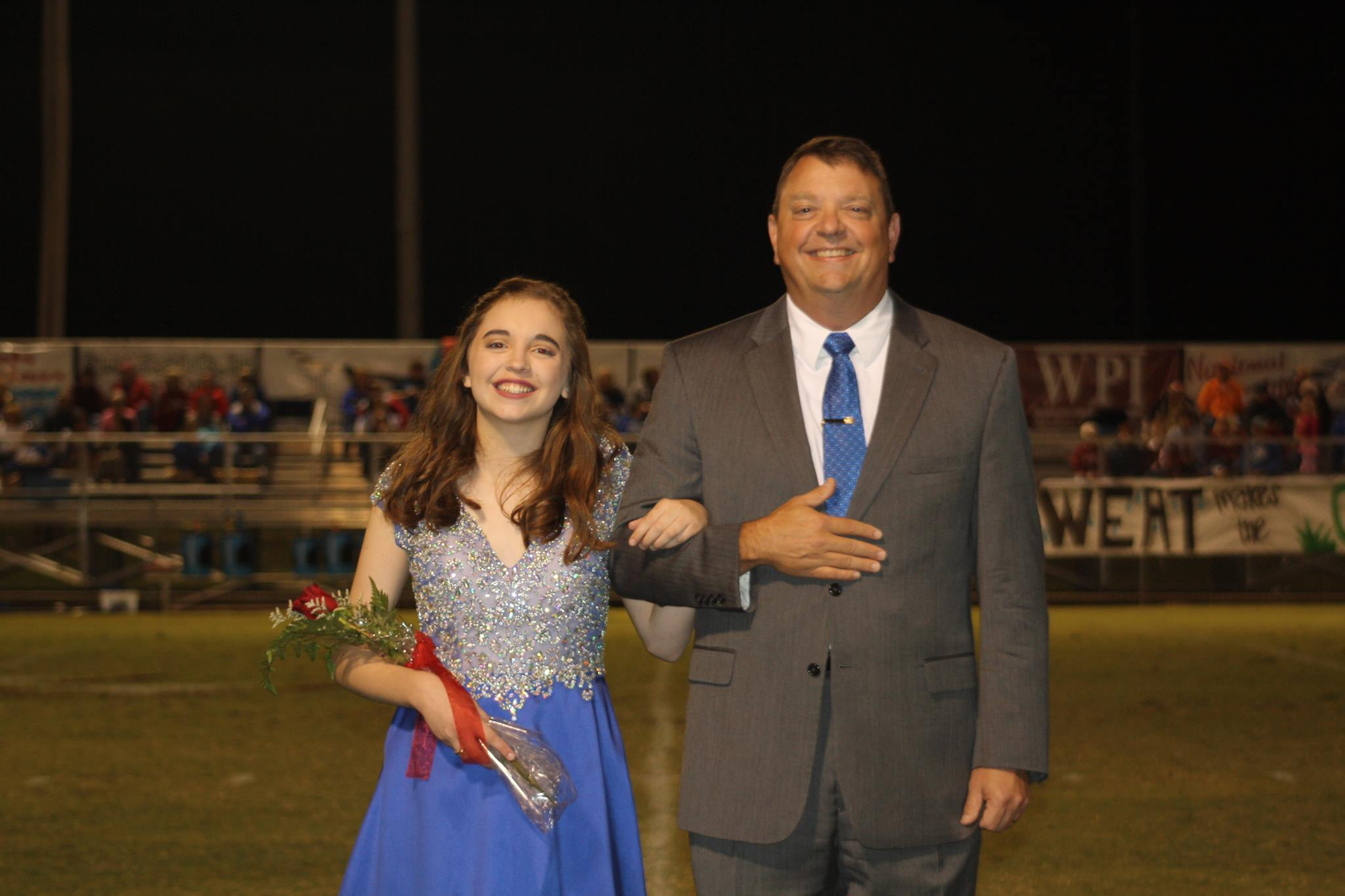 Maggie Storie with her father, Reverend James Storie. Maggie was on the 2016 homecoming court for Shoals Christian school in Florence. Congratulations Maggie!!
