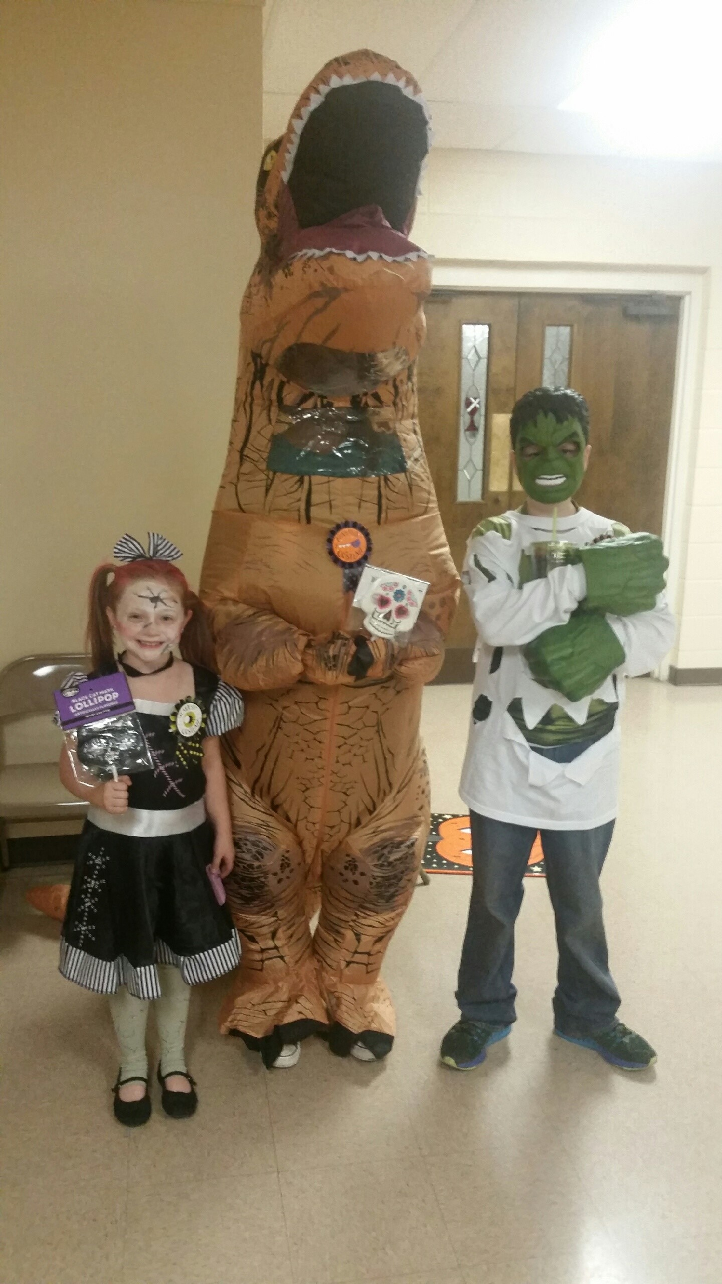 Winners of our costume contest: Carley Grace won scariest costume, Kathryn was funniest costume, and Logan was best costume. Everyone looked great!!