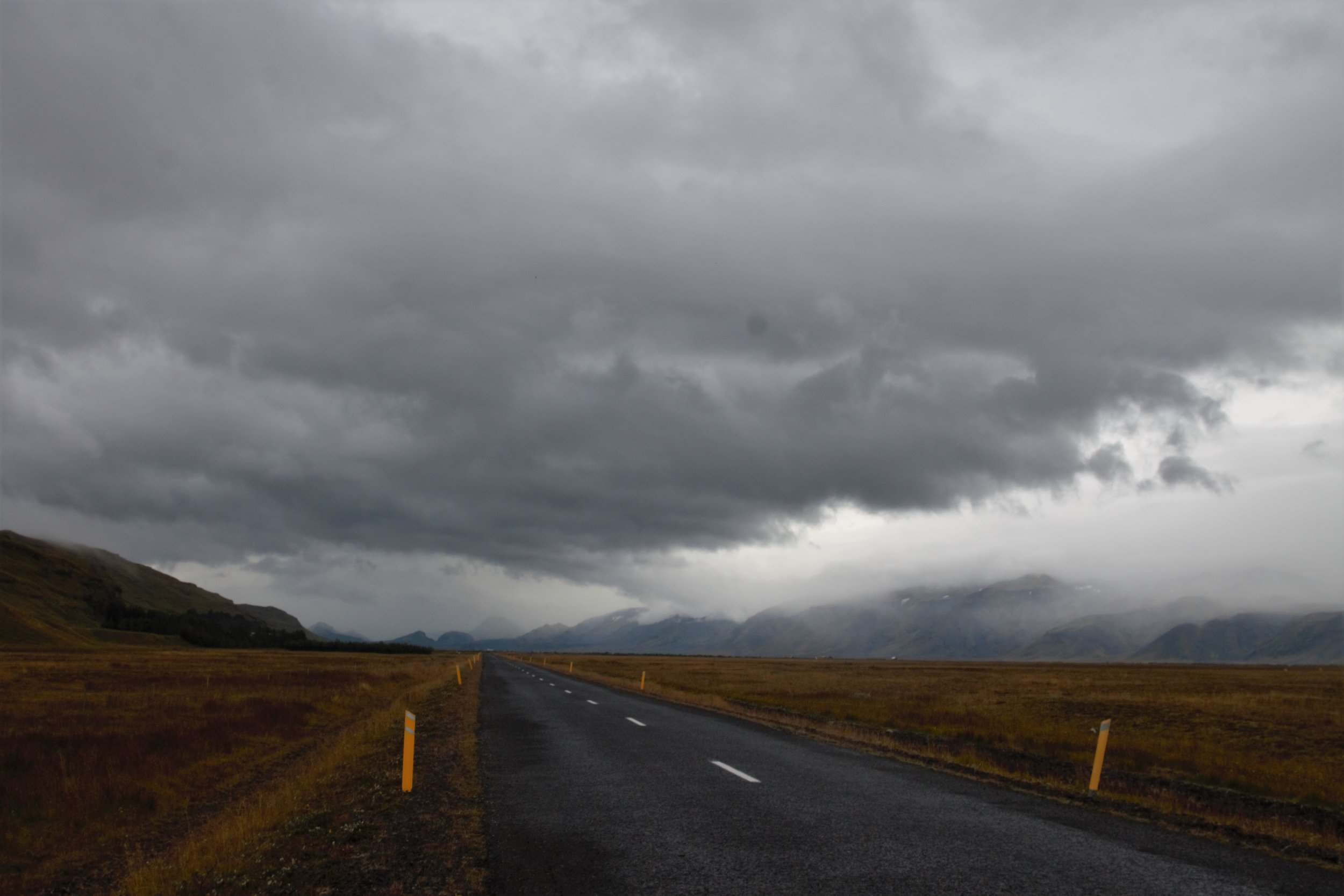The misty, rainy road back into the highland.