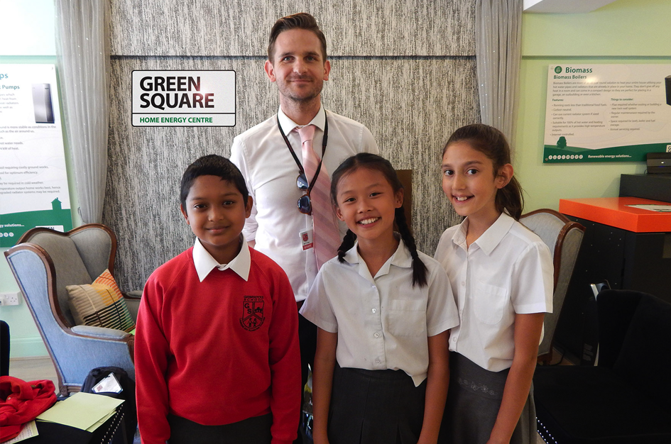 The headmaster and pupils from Grimsdyke School