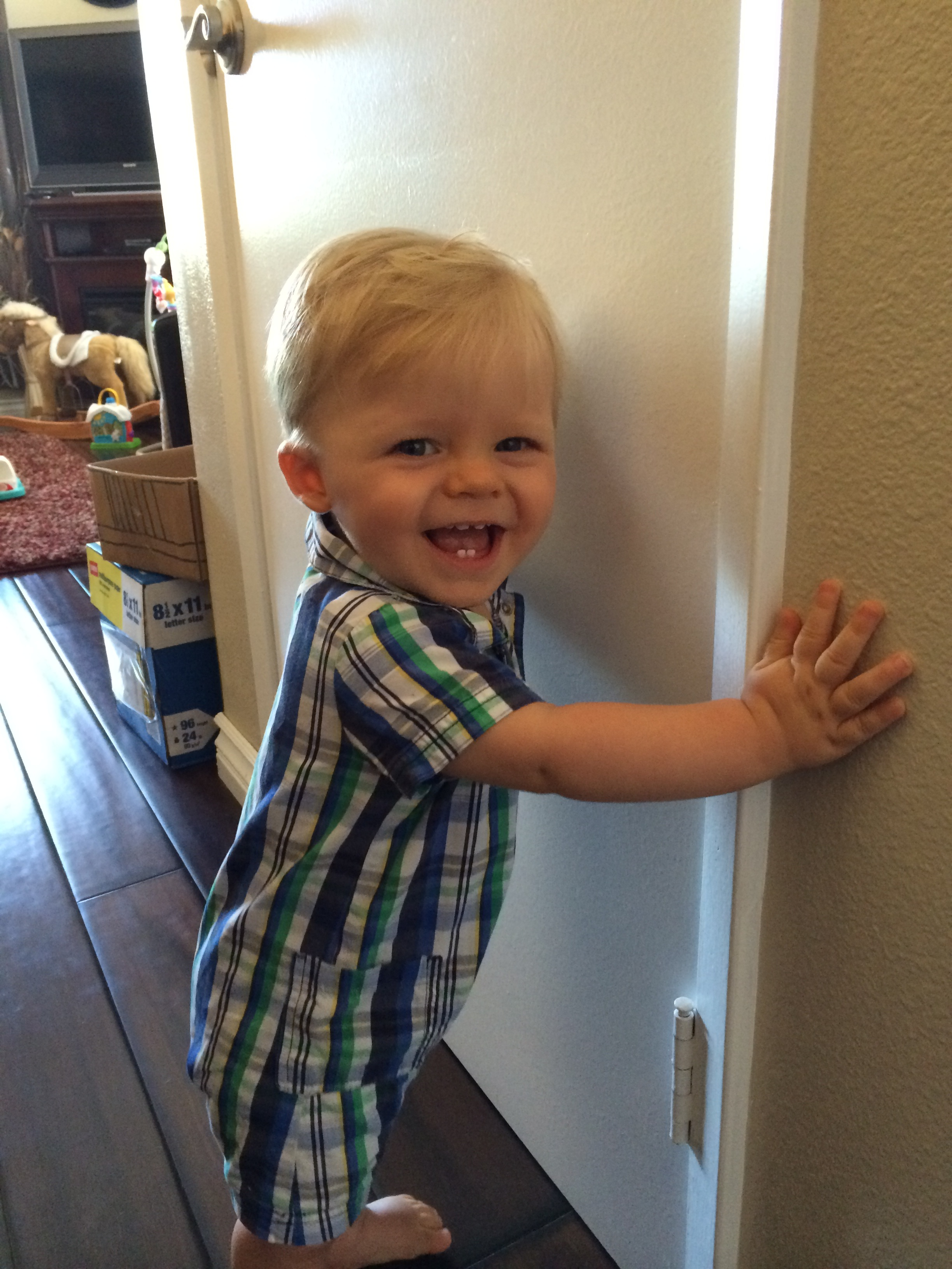 Carter is now 10 months old and walking around on the walls and furniture!