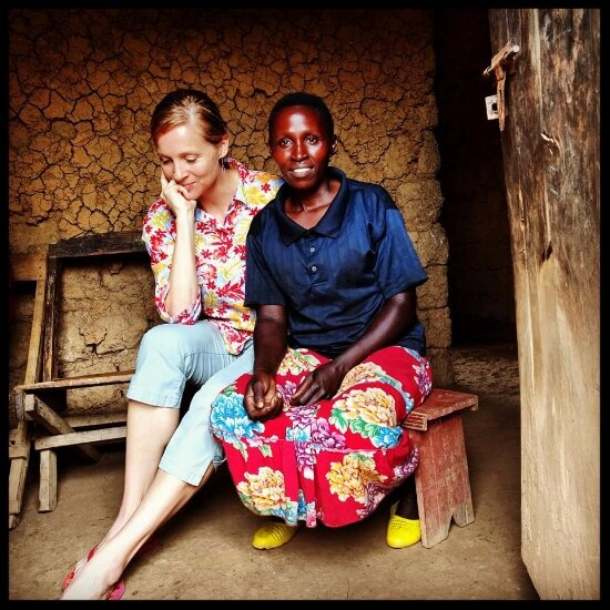 Sara & Beatrice in Rwanda. Beatrice is a tea partner and teaches guest how to pluck tea on the annual Crop to Cup Trip.