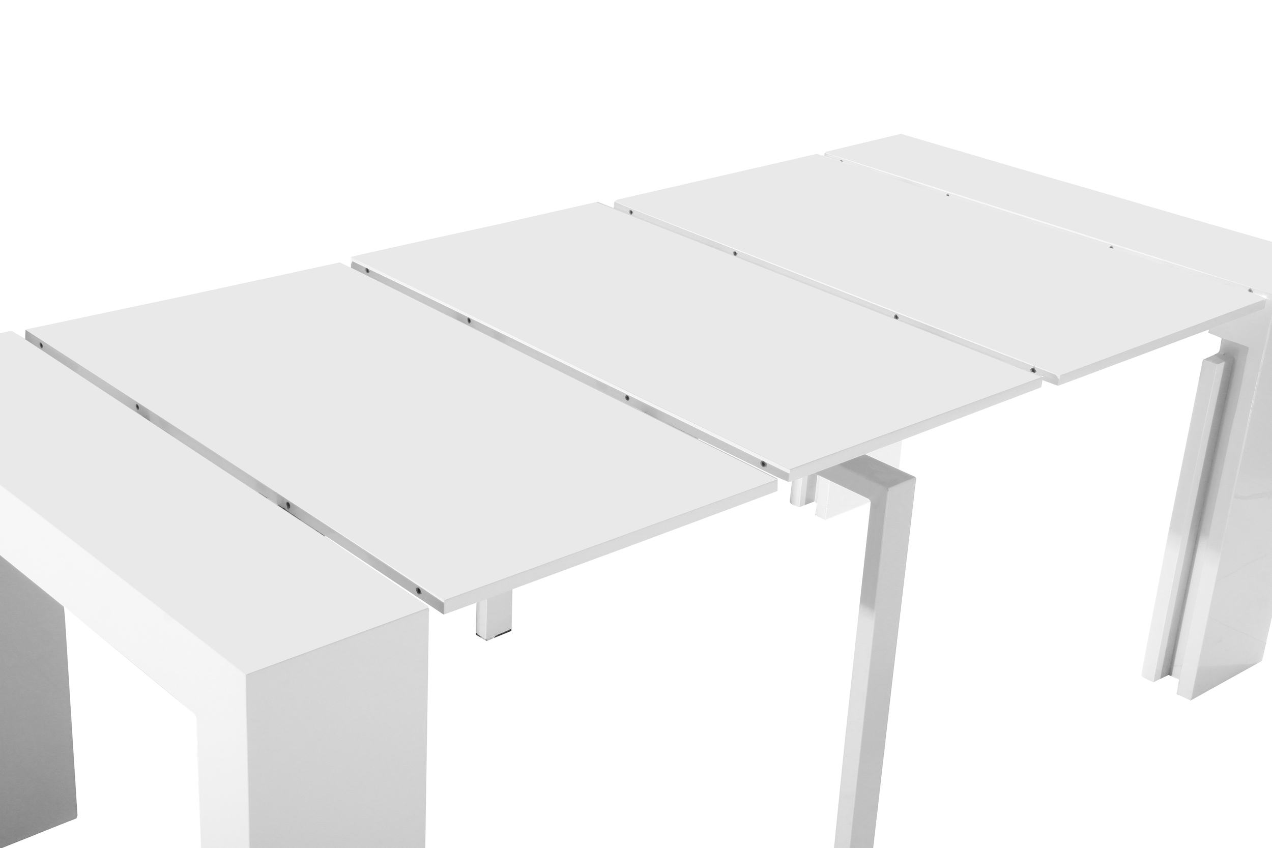 Table Leaves Positioned Over Sliding Rails