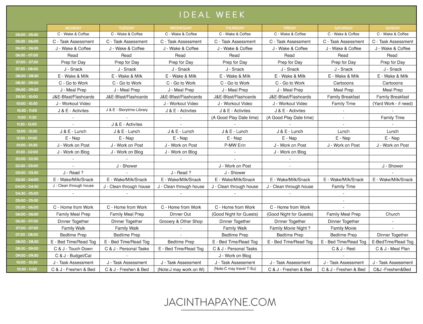 Here is an example of how I filled out my ideal week. You don't have to fill yours out as thoroughly as this mine, but it can be helpful.