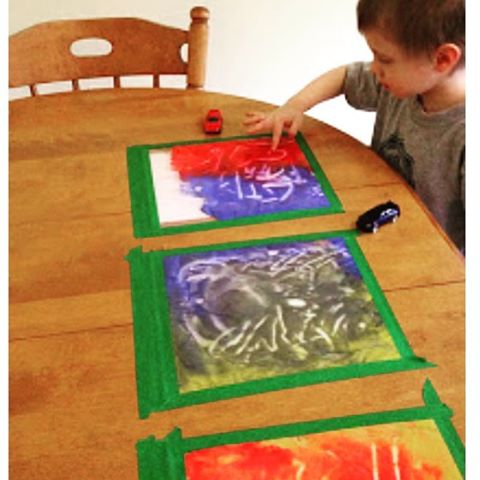 Inside fun for winter or rainy days. Painting in ziplock bags. Tape to a window for something different.