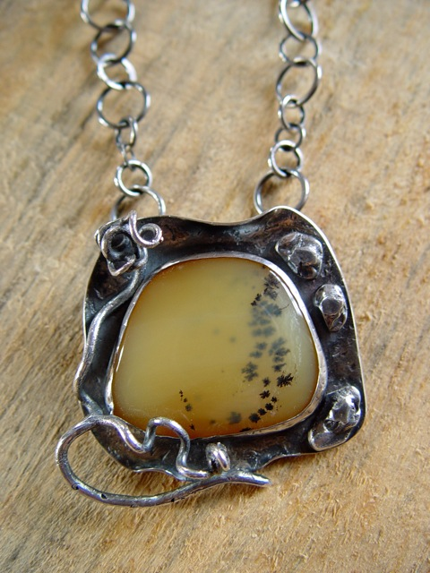 Yellow Dendrite Opal Pendant