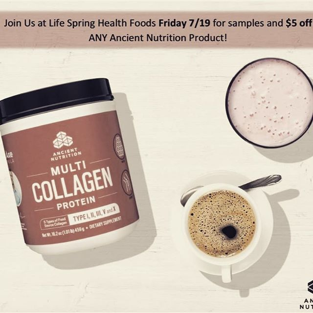 Come stop by tomorrow morning from 11-2:00 PM on Friday July 19th. We will be doing another demo on our Ancient Nutrition line. Lots of samples and 5 dollar coupons will be handed out to all our customers. Our sales representative Adam Pallini will be there to accommodate your multi collagen needs. Will keep you cool and hydrated during this humid heatwave! #collagen #lifestyle #keto  @ Life Spring Health Foods & Juice Bar
