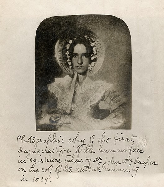 a photographic copy of the 1839 the first photograph of a woman, by John draper of his sister, Dorothy